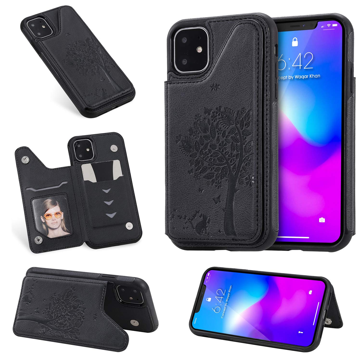 Tznzxm iPhone 11 6.1 inch Case, Fashion Tree Cat Design PU Leather Kickstand Card Slots Double Magnetic Clasp Durable Shockproof Soft TPU Back Wallet Flip Cover for iPhone 6.1 inch (2019) Black by Tznzxm