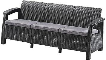 Justyou Corfu Max Sofa Couch Gartenbank Rattan 3 Sitzer Sofa In