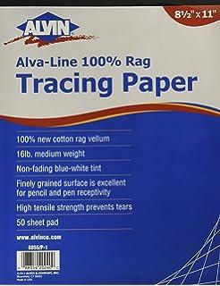 ALVIN 6855//S-XO-10 ALVA-LINE 100/% RAG VELLUM TRACING PAPER 10-SHEET PACK 24 X 36