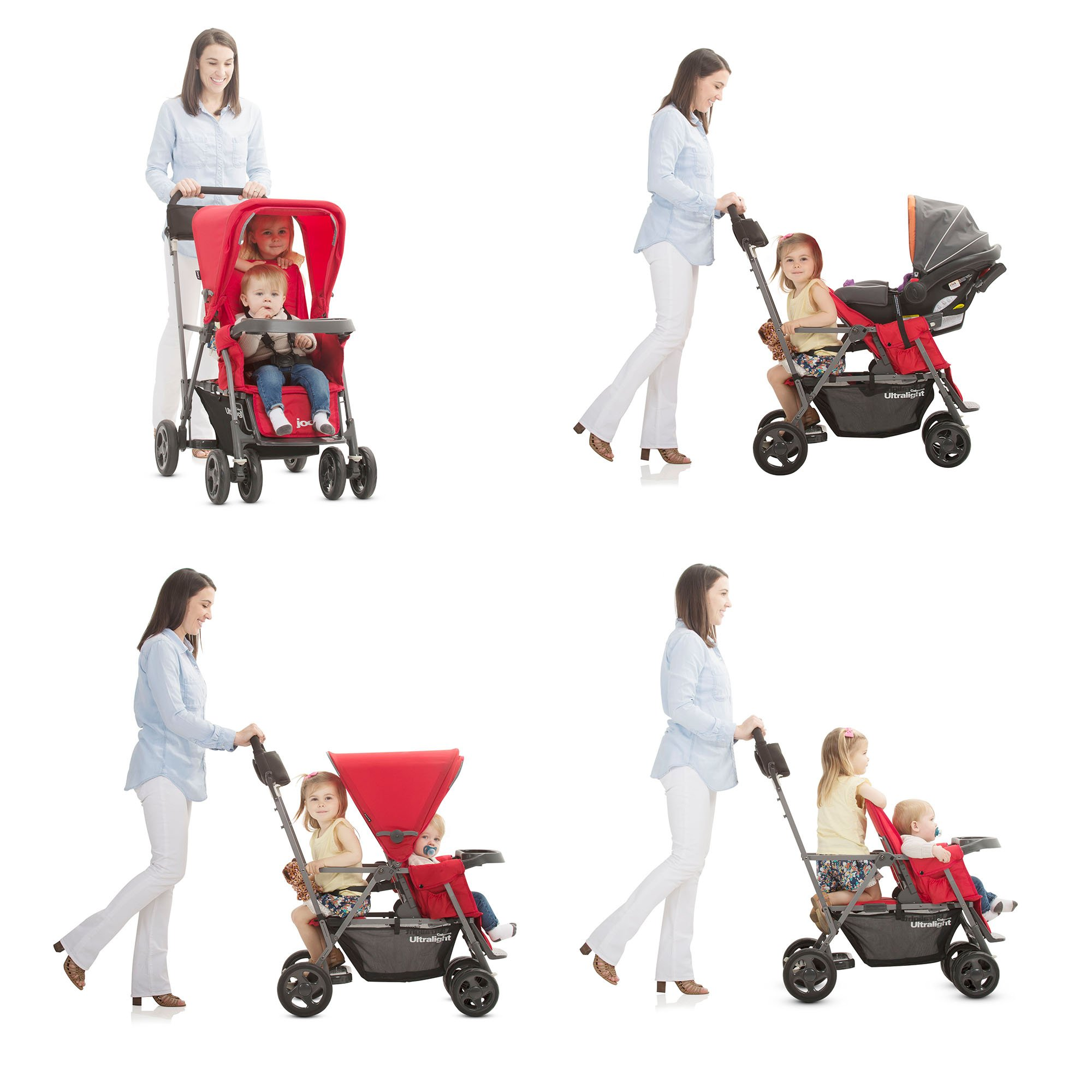 Black JOOVY Caboose Too Graphite Stand-On Tandem Stroller