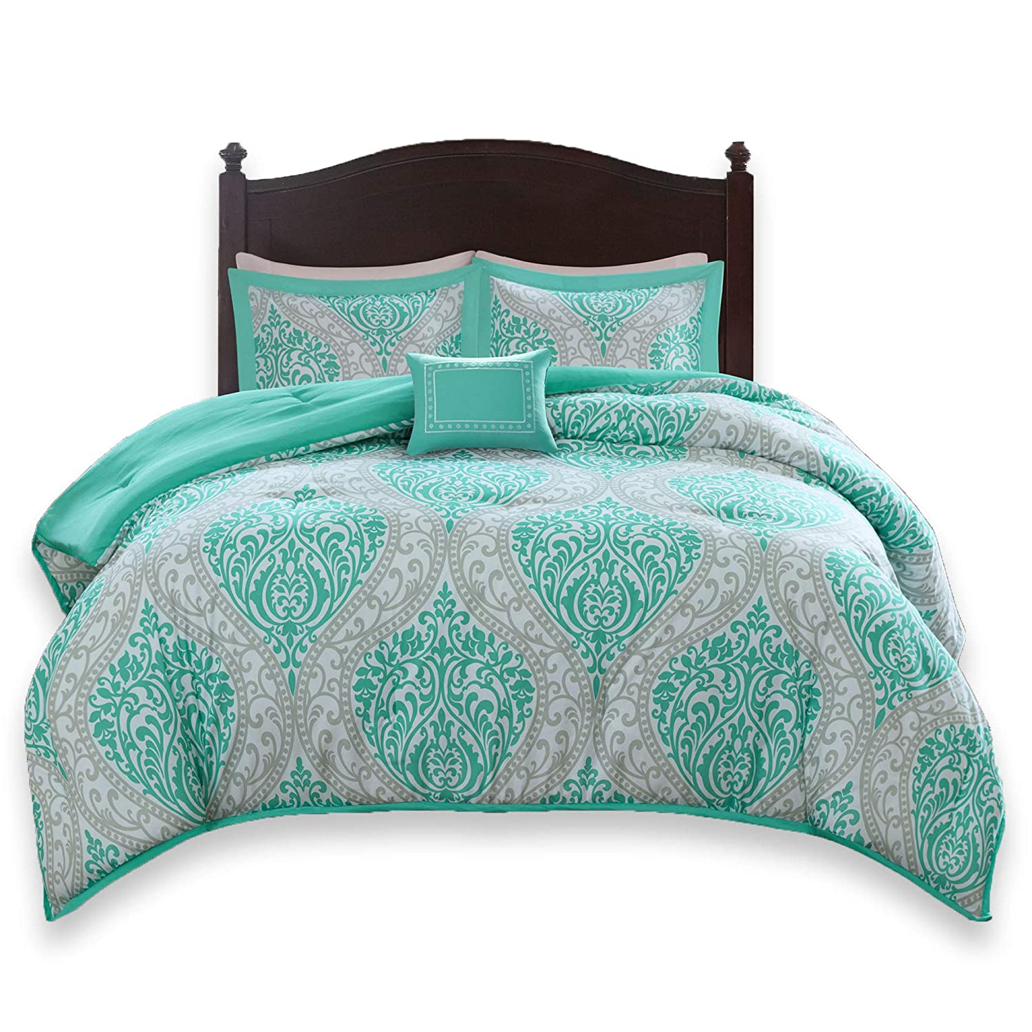 Comfort Spaces Coco 3 Piece Comforter Set Ultra Soft Printed Damask Pattern Hypoallergenic Bedding, Twin/Twin XL, Teal-Grey
