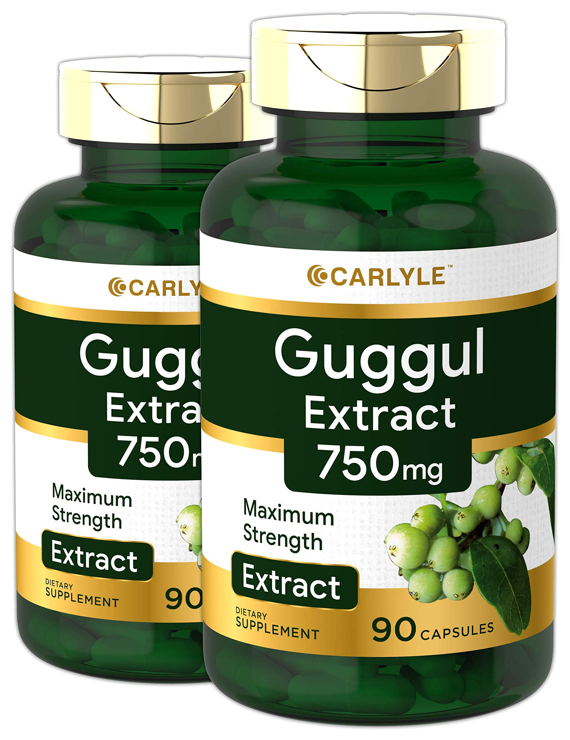Carlyle Guggul Extract 750 mg Guggulsterone 180 Capsules | Supports Healthy Cholesterol Levels | Non-GMO and Gluten Free Supplement, 2 pack