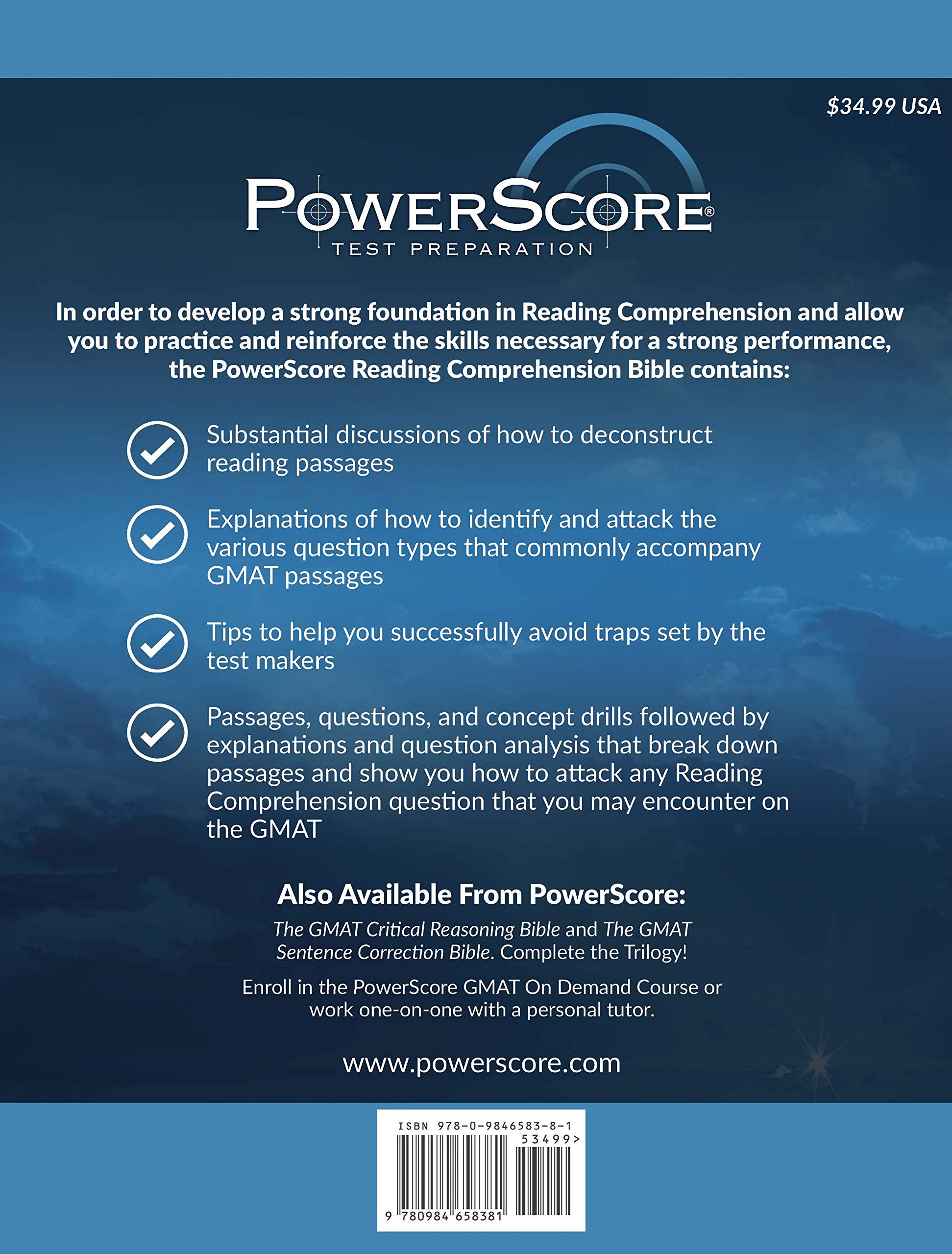 The Powerscore Gmat Reading Comprehension Bible A Comprehensive System For Attacking Gmat Reading Comprehension Questions David M Killoran Jon M Denning 9780984658381 Amazon Com Books