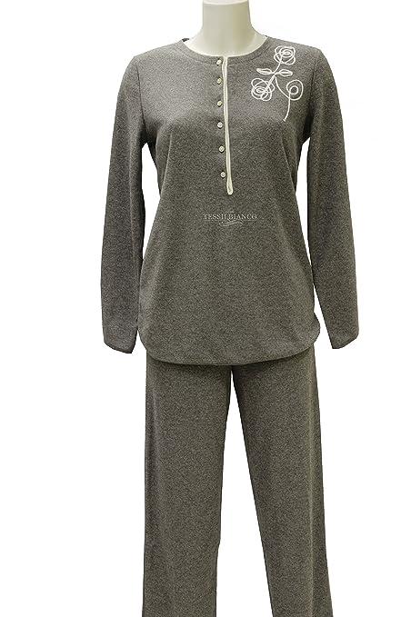 Pijama de invierno para mujer de forro polar con cuello a Serafino GRIGIO/CREMA 42