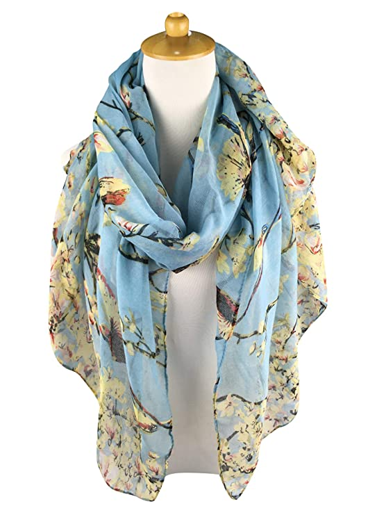 521555cb75 GERINLY Scarfs for Women Spring Lightweight Floral Birds Print Dress Shawl  (Light Blue) at Amazon Women s Clothing store