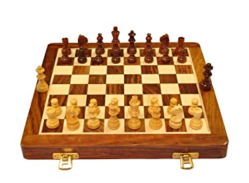 Palm Royal Handicrafts 10 inches Best Folding Wooden Handmade Chess Set Board with…