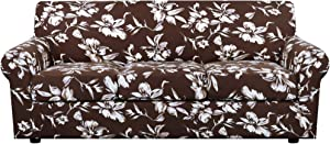 H.VERSAILTEX Super Stretch 4 Pieces Sofa Covers for 3 Cushion Couch Covers Sofa Slipcovers Feature Soft Thick Bouncy Mondern Style with Individual Cushion Covers Pet Friendly - Sofa, Chocolate