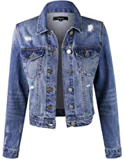 makeitmint Women's Casual Distressed Ripped Washed Denim Jean Jacket YJD0004-09MEDIUM-MED