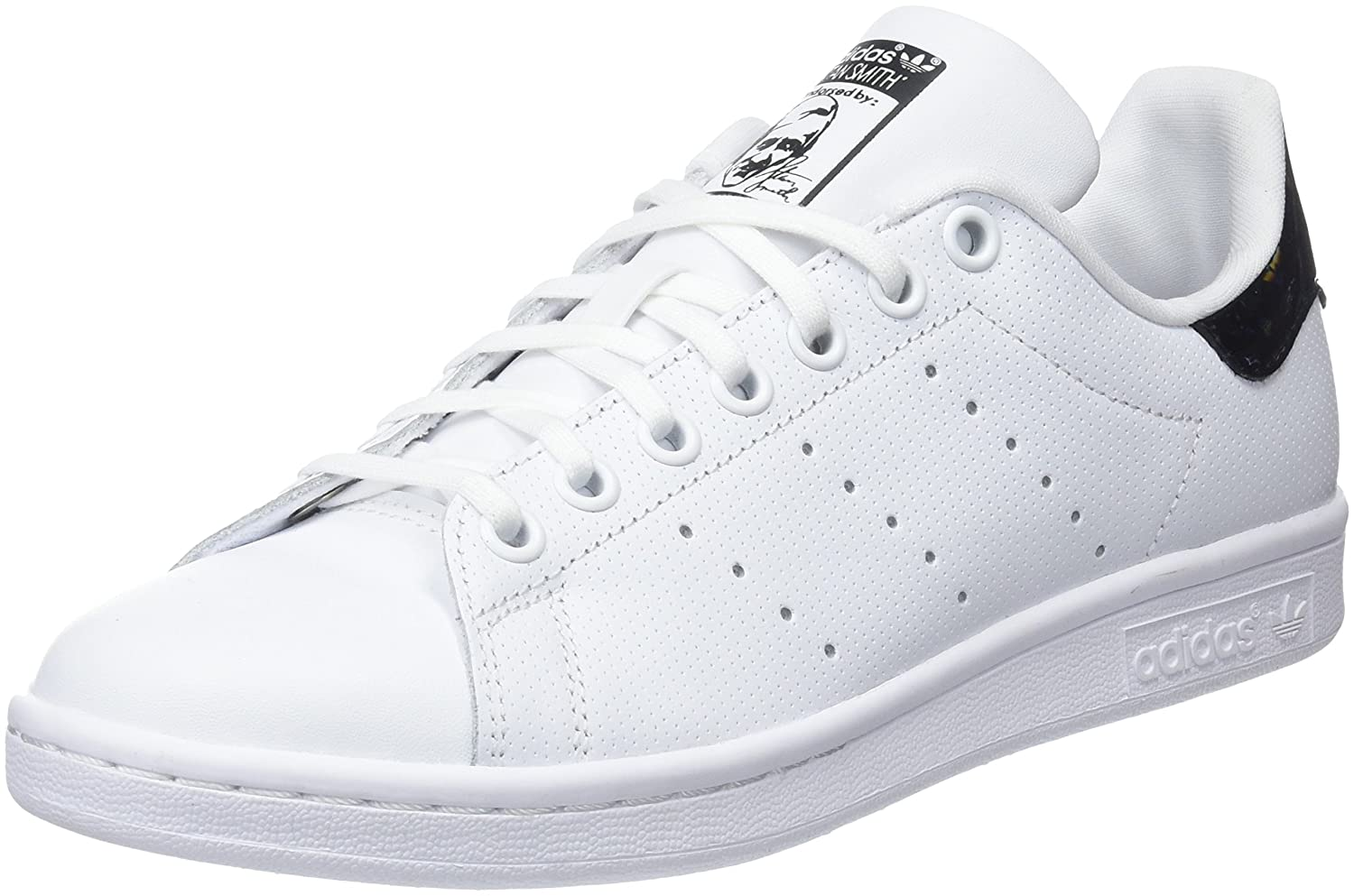new concept 8ff5c 0b42e Amazon.com   adidas Youth Stan Smith White Black Leather Trainers 4.5 US    Sneakers