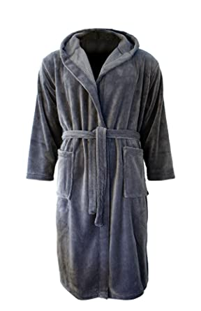 neue niedrigere Preise schönen Glanz reich und großartig Close Up Henry's Cozy Fleece Bademantel - Damen & Herren Morgenmantel,  anthrazit/grau, Saunamantel Größen S - XL