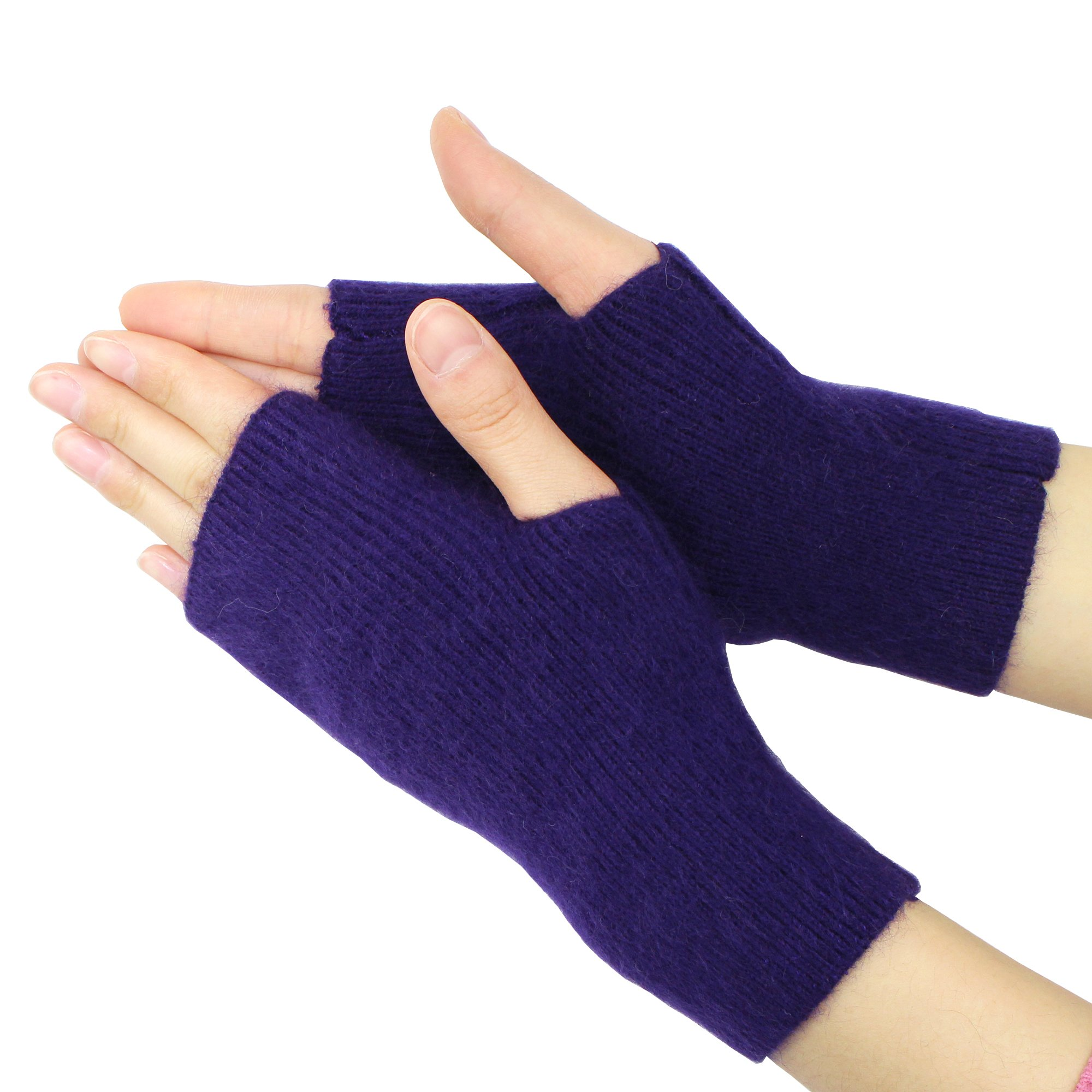 Volyer Women's Winter Mink Cashmere Half Finger Gloves Cute Fingerless Gloves Mitts Christmas Xmas Gift for Girlfriend Wife Lover Mother (Purple)