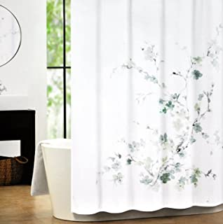 Tahari Luxury Cotton Blend Shower Curtain Printemps Gray Aqua Sage Floral  Branches by Tahari Home. Amazon com  Tahari Home Printemps White Blue Floral Fabric Shower