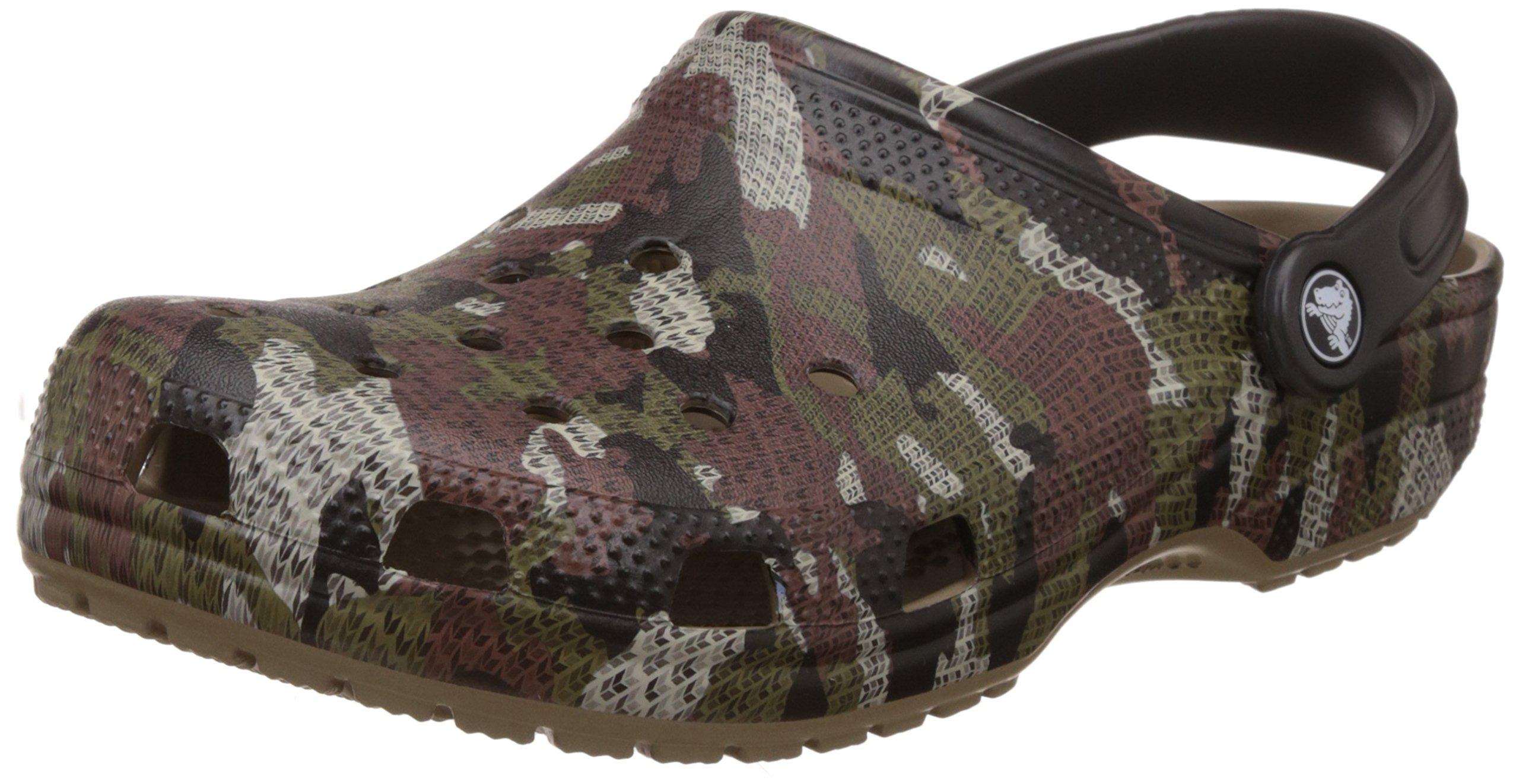 crocs Unisex Classic Printed Clog Mule, Blue Jean, Khaki, 8 US Men / 10 US Women