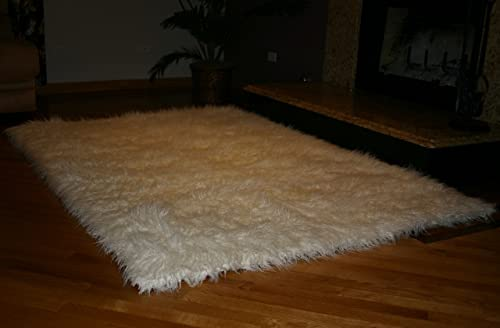 Fur Accents Faux Rug White Mongolian 4 x6