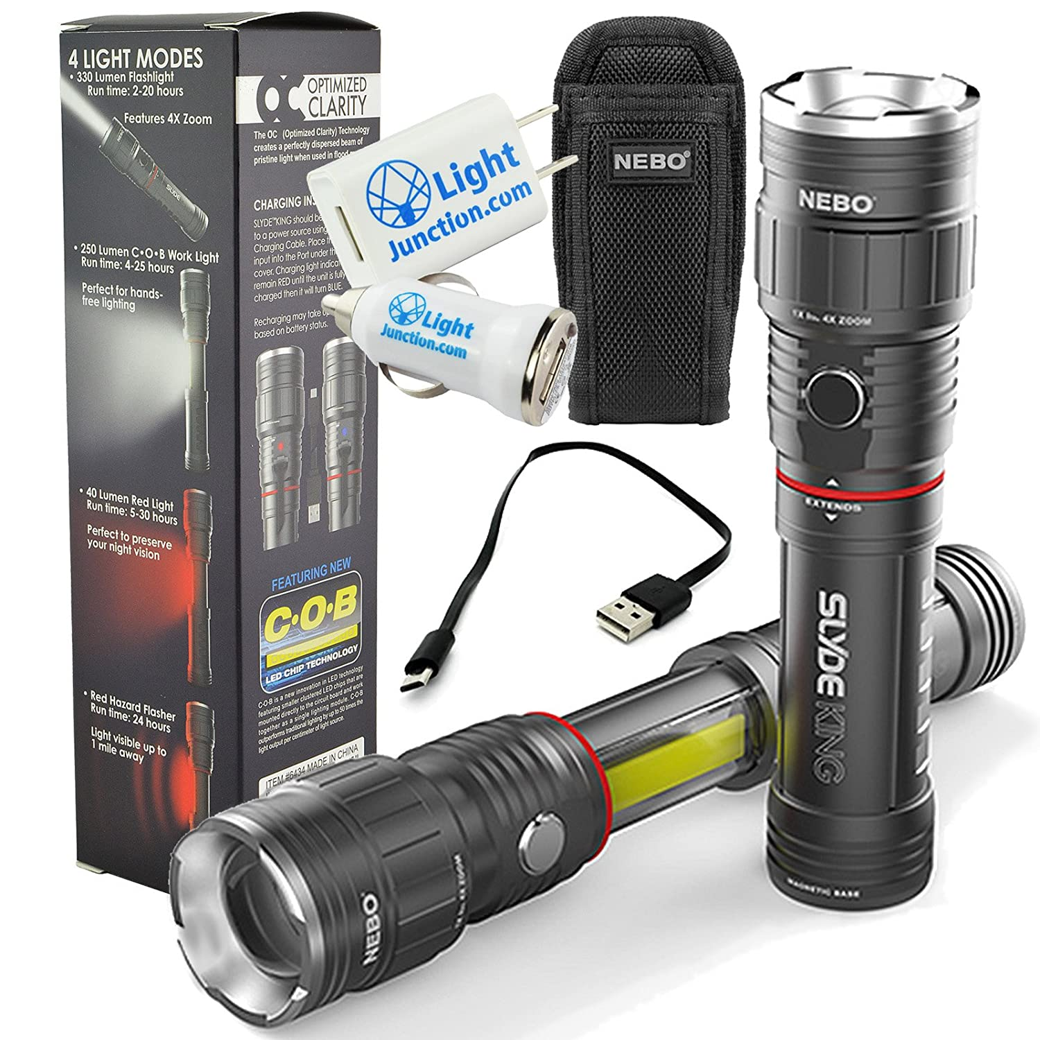 Nebo Slyde King 6434 Rechargeable LED Flashlight Work Light Adjustable Zoom with 6274 Holster and 1A LightJunction USB Plug Adapters