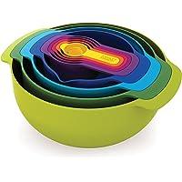 Joseph Joseph 40031 Nest 9 Nesting Bowls Set with Mixing Bowls Measuring Cups Sieve Colander, 9-Piece, Multicolored