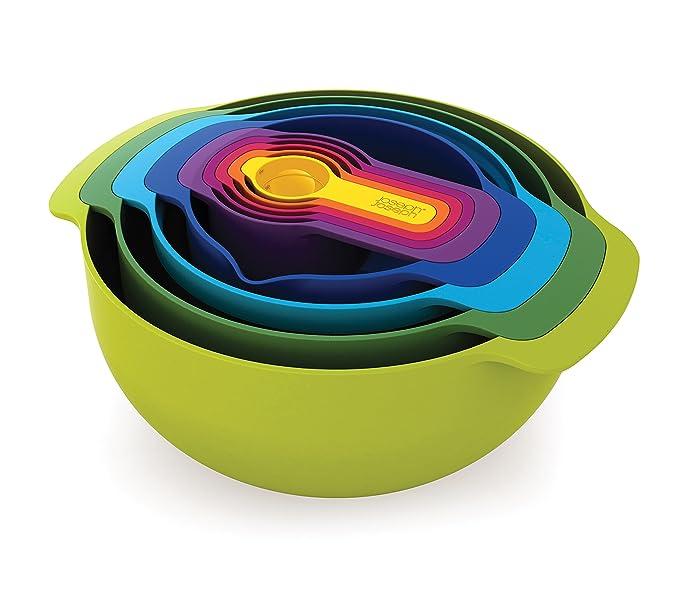 Joseph Joseph 40031 Nest 9 Nesting Bowls Set with Mixing Bowls Measuring Cups Sieve Colander (9 Piece), Multicolor