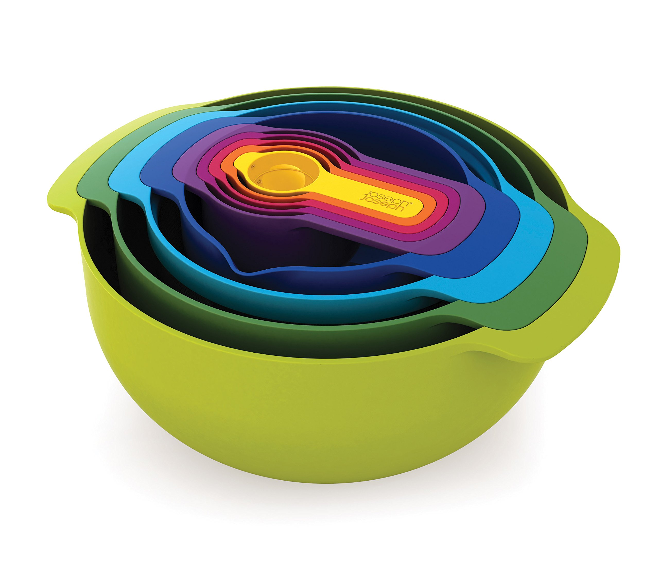 Joseph Joseph 40031 Nest 9 Nesting Bowls Set with Mixing Bowls Measuring Cups Sieve Colander, 9-Piece, Multicolored