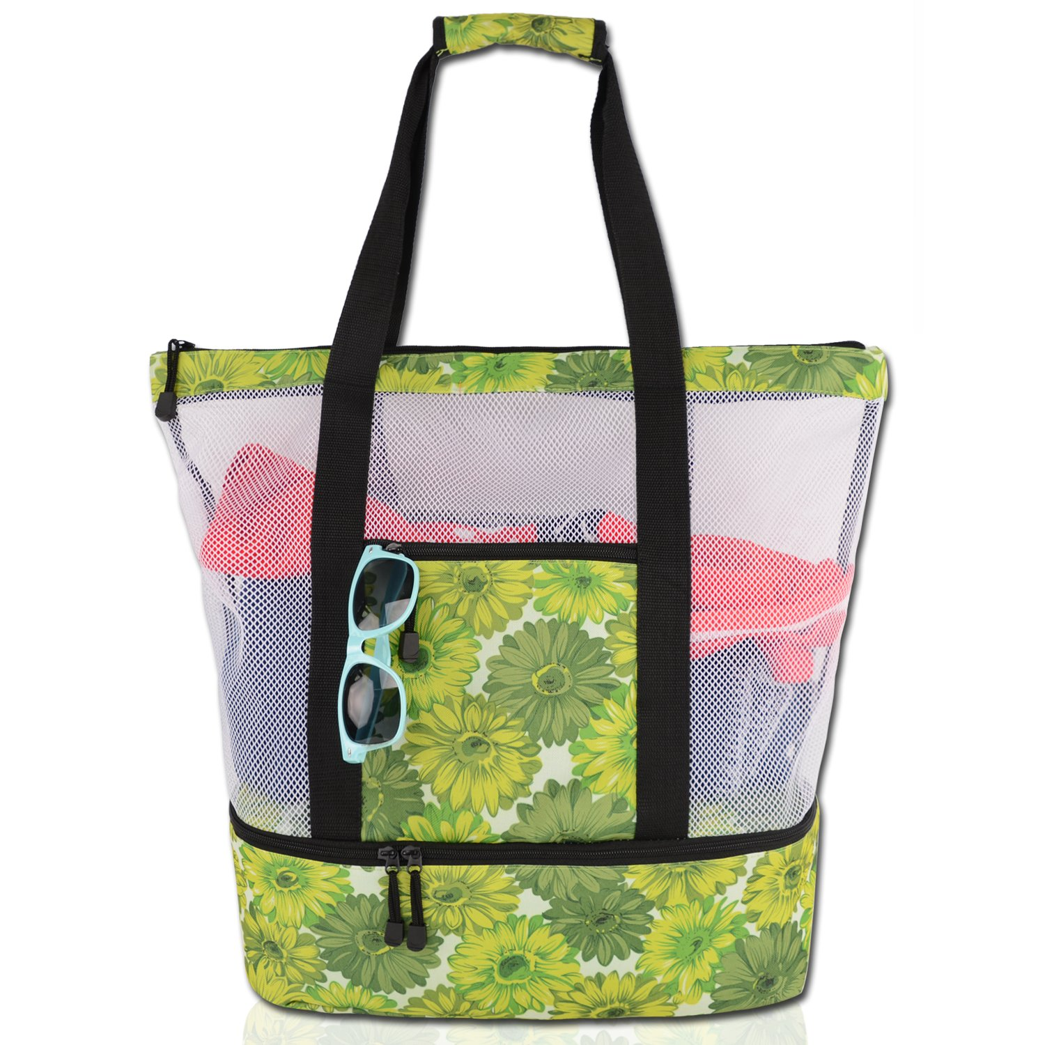 Rotanet Mesh Beach Tote Bag-Zipper Top with Insulated Picnic Cooler Extra Large (Green Flower)