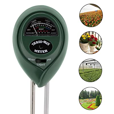 SheerSquare 3 in 1 Soil PH and Light Meter - Soil PH Meter Soil Moisture Sensor 3-in-1 Soil Moisture/Light/PH Test Kit for Indoor/Outdoor Plants Care (No Battery Needed) : Garden & Outdoor