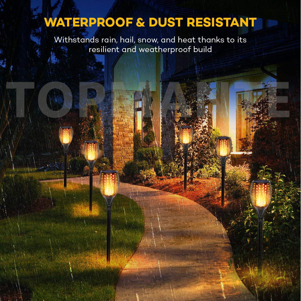 Topmante Upgraded Solar Lights 96 LED 42.9 Inch, Waterproof Flickering Flames Torches Lights Outdoor Solar Spotlights Landscape Lighting Dusk to Dawn Auto On/Off Security Torch Light (4 Pack) by Topmante (Image #5)
