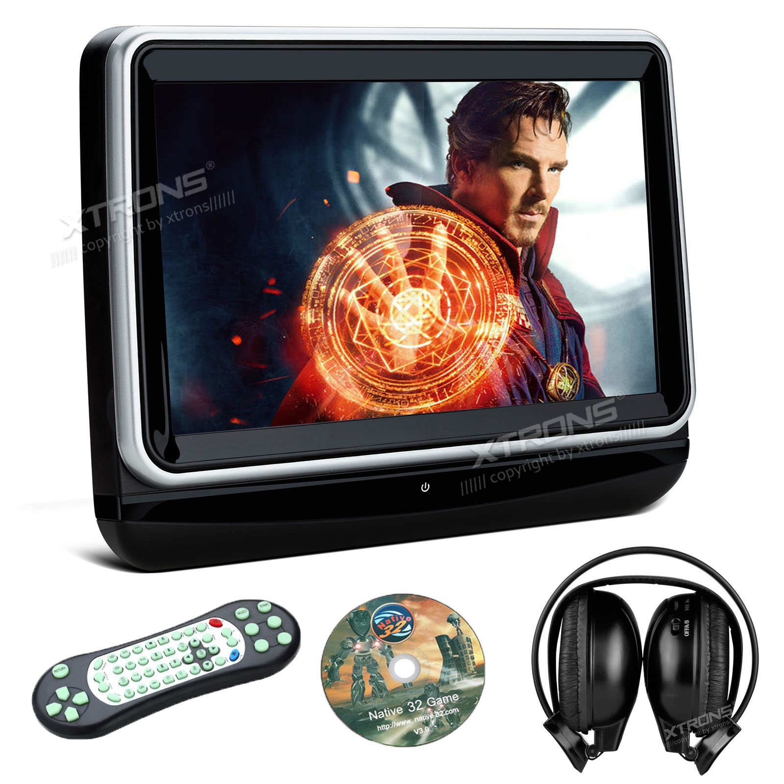 XTRONS Single 10.1 Inch HD TFT Digital Touch Screen Car Auto Headrest DVD Player 1080P Video HDMI Port 1PC Headphone Included