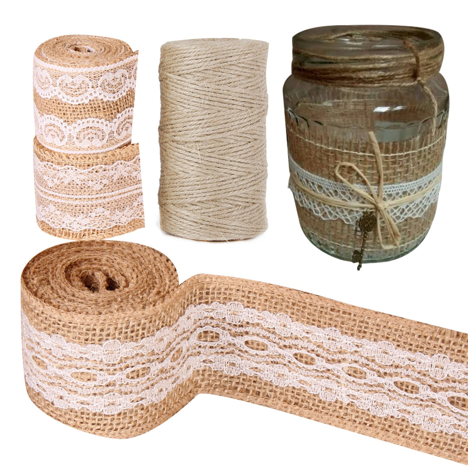 Amazon.com: Faylapa 6 Pack Natural Burlap Craft Ribbon Roll ...