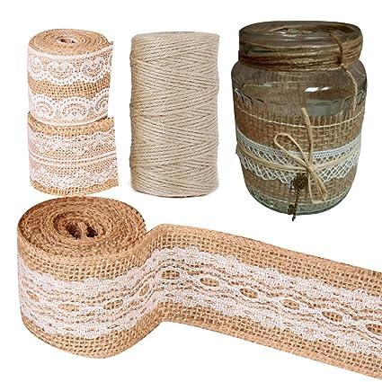 Faylapa Paquete de 6 rollos de cinta de artesanía de arpillera natural con encaje blanco + 1pcs hilo de yute natural, proyectos de bricolaje hechos a mano ...