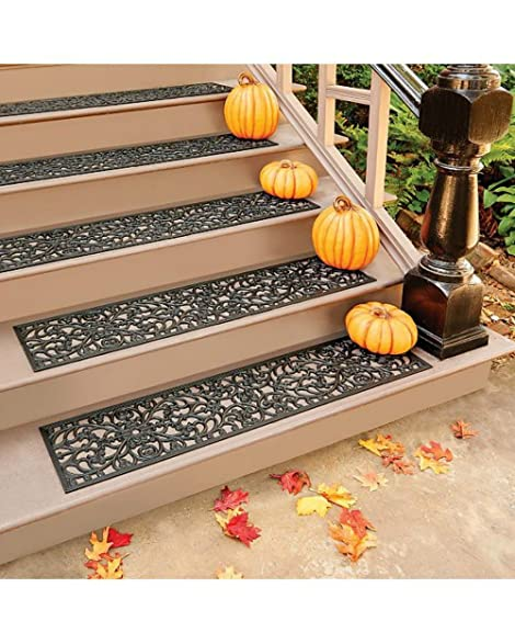 48u0026quot;W Set Of 3 Extra Wide Elegant Outdoor Black Scrollwork Rubber Non  Slip Stair