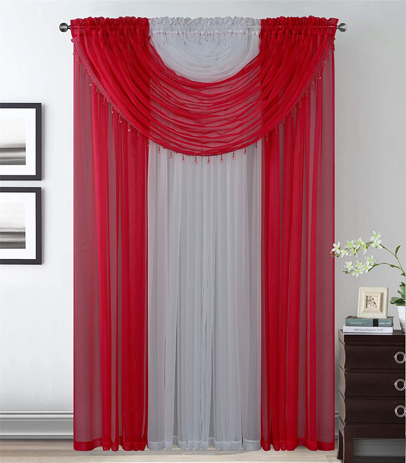 Kids Zone Home Linen 4 Panels with Attached Valances All-in-One Red White Sheer Rod Pocket Curtain Panel 84 Inches Long with Crystal Beads - Window Curtains for Bedroom, Living Room or Dinning Room