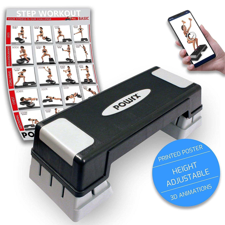 POWRX Step da/érobic//Step pour Aerobic//Professional Stepper R/églable en Hauteur.
