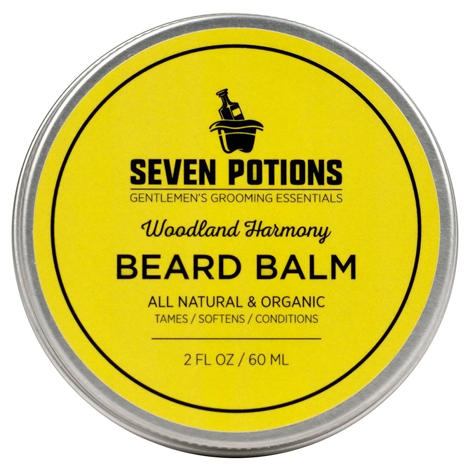 Seven Potions - Best Beard Balm & Leave-in Conditioner 56.6 g. Nourishes the Skin & Makes Your Beard Soft. 100% Natural, Organic with Jojoba Oil. Stops Beard Itch, Leaves it Naturally Shiny & Healthy (Woodland Harmony) by Seven Potions SP0005BB