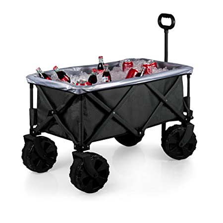 ONIVA – a Picnic Time Brand Elite Edition Collapsible Adventure Wagon with All-Terrain Wheels, Black