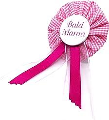 AnneSvea Orden - Bald Mama Pink/Rosa Anstecker Button Babyshower Geburt Schwanger Babyparty Deko Geschenk Mom to be rosa