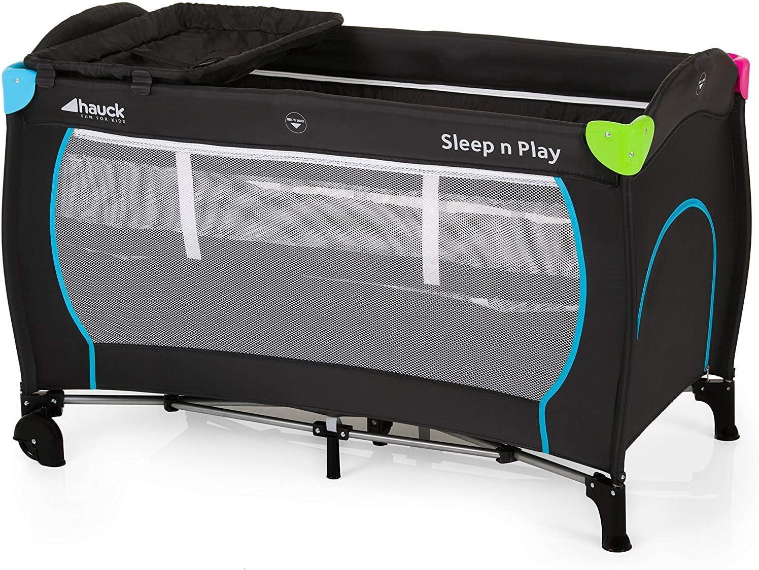 Hauck Sleep N Play Center - Cuna de viaje 7 piezas hasta 15 kg, altura recién nacido, con apertura lateral, ruedas, colchón, cambiador bebe, bolsa de transporte, plegable y regulable, negro