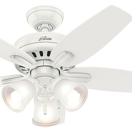 Hunter Fan 42 inch Ceiling Fan with 3 Lights in Brushed Nickel Renewed Fresh White