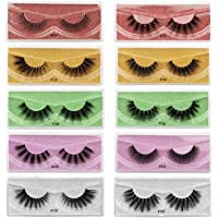 FRCOLOR 10 Pairs Faux Mink Lashes Multi- layered Fluffy Volume Lashes 3D Layered False Eyelashes Natural Look Lashes…