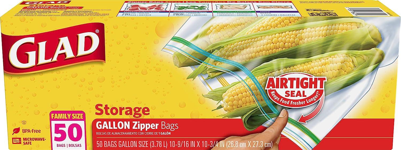Glad Zipper Food Storage Plastic Bags - Gallon - 50 Count