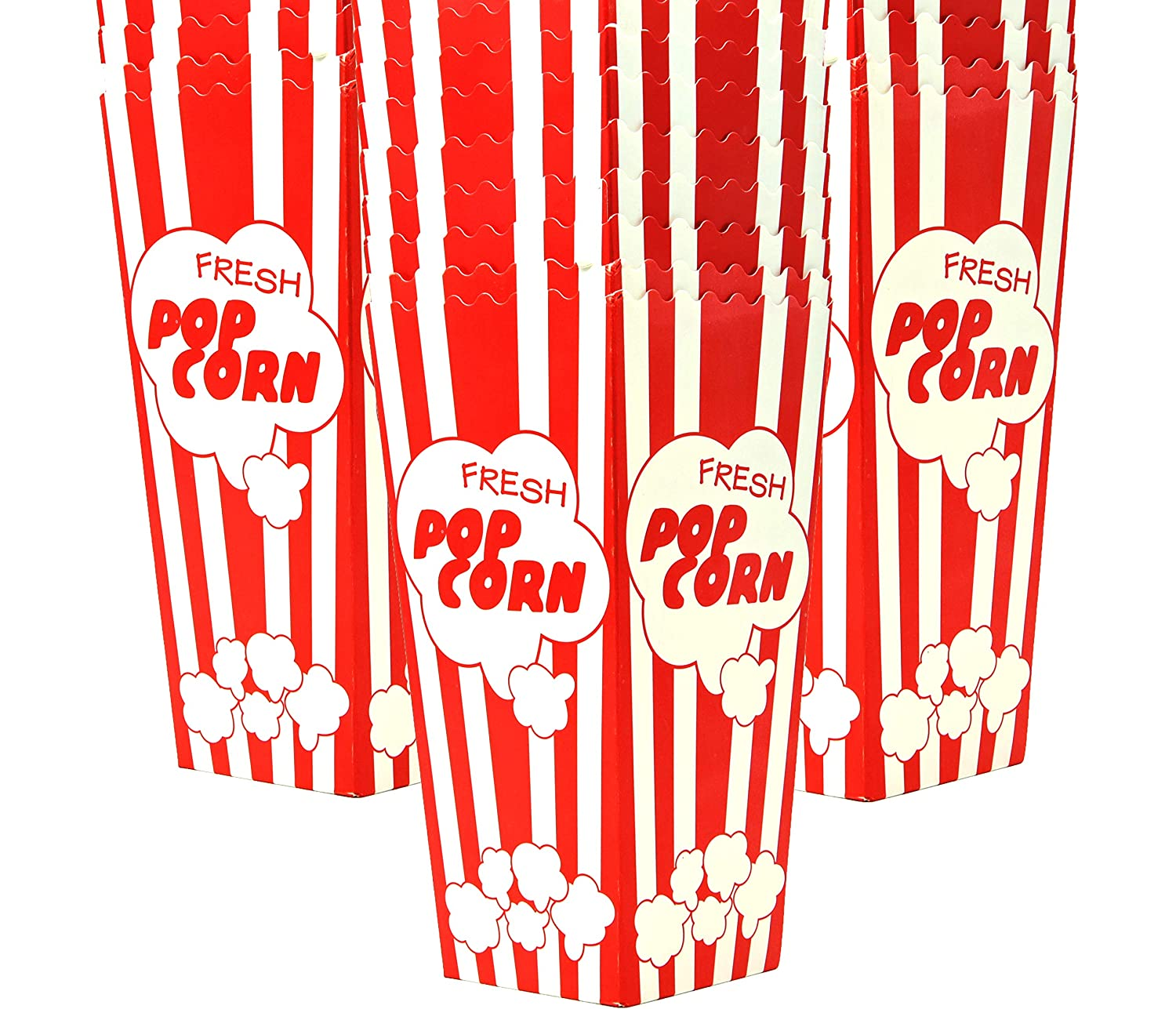 """15 Popcorn Boxes, 7.75"""" Inches Tall and Holds 46 Oz. with Old Fashion Vintage Retro Design with Red and White Colored Nostalgic Carnival Stripes Alternative to Popcorn Bags and Popcorn Tubs by Salbree"""