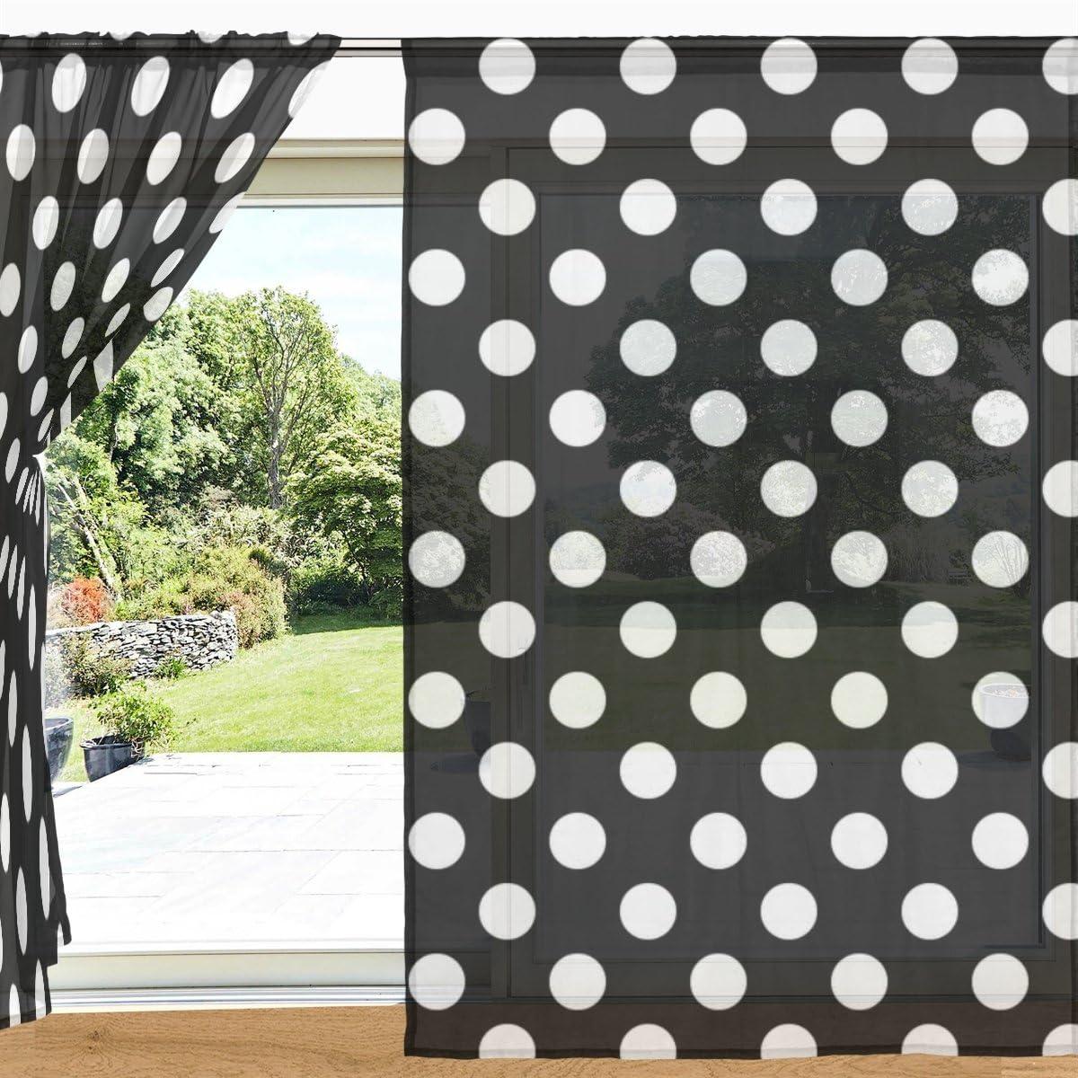 MyDaily cortina clásica para ventana y puerta, diseño de lunares, color blanco y negro, 2 paneles de 140 x 213 cm, para decoración de sala de estar o dormitorio, poliéster, multicolor, 55