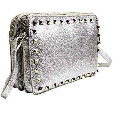 7760f420c12f Veronica Studded Designer Inspired Handbags - Gold Cross Body Bag Black  Cross Body Bag Silver Shoulder