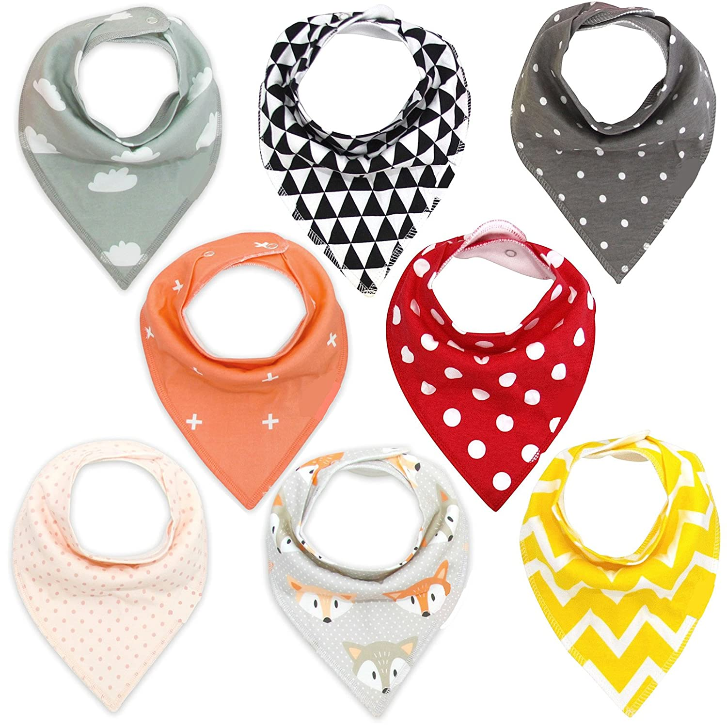 Baby Bandana Drool Bibs, Soft Pure Cotton Unisex 8 - Group #2 Accessory