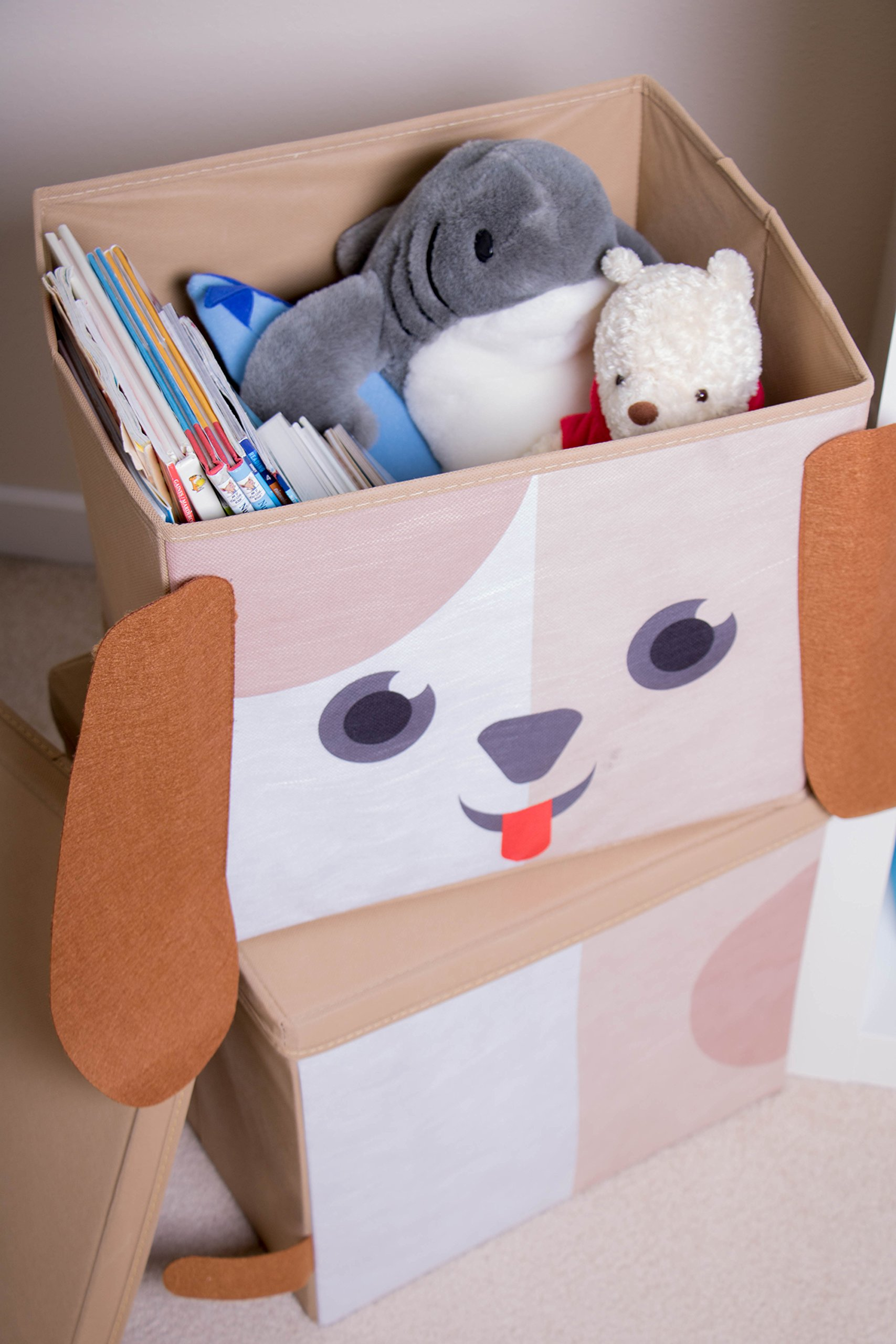 Cute Dog Stackable Storage Organizer by Clever Creations | Collapsible Storage Box Any Room | Perfect Size Chest for Organizing Dog Toys, Clothes, Shoes and More! by Clever Creations (Image #6)