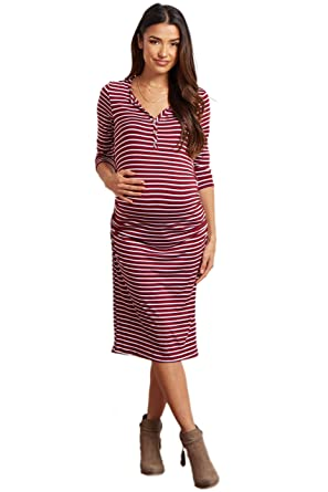 cbcef69e3714 PinkBlush Maternity Burgundy Striped Button up Midi Maternity Dress ...