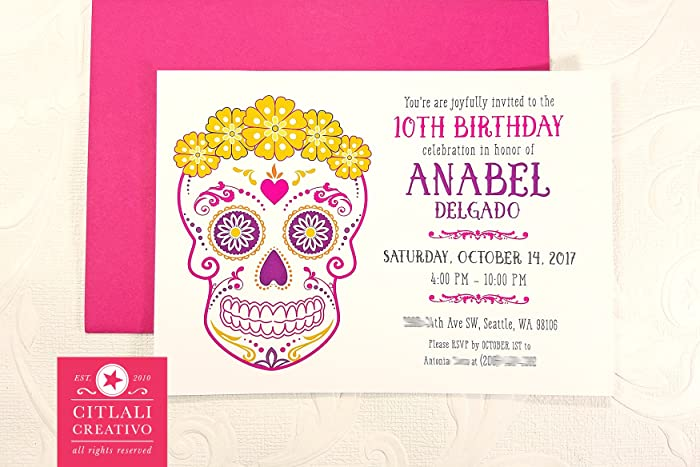 Amazon Com Birthday Floral Crown Fiesta Sugar Skull Invitations