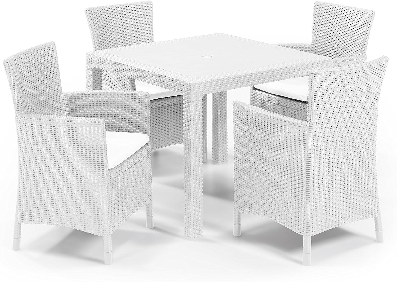 Keter - Set de mobiliario de jardín Quartet/Iowa (mesa + 4 sillones), color blanco: Amazon.es: Jardín
