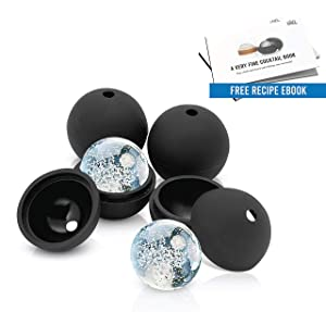 Arctic Chill 2.5 Inch Ice Ball, Makes Four (4) Ice Spheres, Keeps your Whiskey Chilled Longer Than Ice Cubes, Made from BPA Free and FDA Approved Silicone, Free Cocktail Recipe Ebook Included