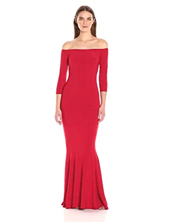 7b541437be3cd Amazon.com: Norma Kamali Women's Off Shoulder Fishtail Gown in Red ...