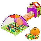 TecTake Tente igloo pour enfants avec tunnel + 200 balles + sac - tente de jeu