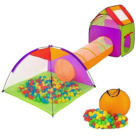 4371569e004f9d TecTake Tenda Igloo per bambini con tunnel + 200 palline + tenda tascabile  - Tenda da